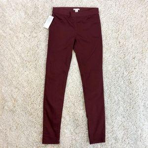 Burgundy stretch pull on twill leggings, NWT